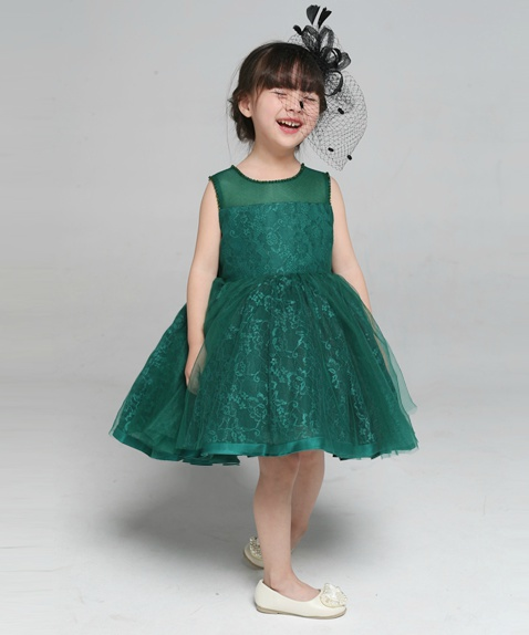 Flower Girl Dress, Green Flower Girl Dress, Dark Green Flower Girl ...