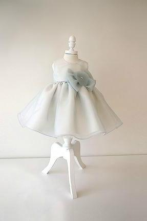 Livid Flower Girl Dress, Big bow gray flower girl dress, Big bow baby girl dress, Blue flower girl dress, Off white flower girl dress, Gray flower girl dress