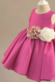Flower girl dress, Pink flower girl dress, cherry red flower girl dress, Junior bridesmaid dress, Baby girl birthday outfit, Custom made flower girl dress, Free shipping flower girl dress
