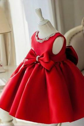 Red flower girl dress, Red christmas dress, Red baby girl birthday dress, Red bridesmaid dress, Red fluffy party dress, Satin dress, Red baby dress, Rhinestone girl dress, High quality flower girl dress