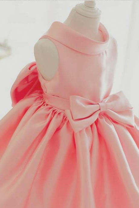 Flower Girl Dress, Light Pink Baby Girl Party Dress, Pinnk Bridesmaid Dress, Big Bow Dress, Pink Flower Girl Dress, Baby Girl Birthday Outfit, High quality flower girl dress, Free shipping