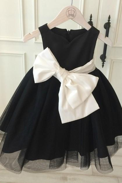 Flower Girl dress, White Big Bow Bridesmaid Dress, Black Tutu Dress, Black Birthday Dress, Black Big Bow Dress, High Quality Flower Girl Dress, Free Shipping Dress
